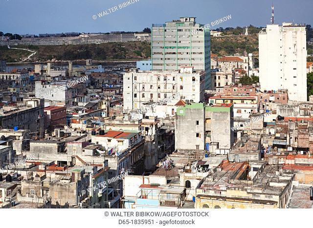 Cuba, Havana, Havana Vieja, elevated view of Old Havana buildings