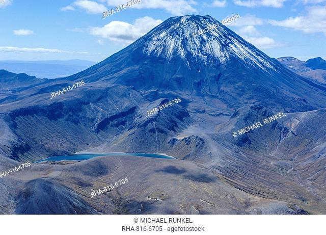 Aerial of the blue lake in front of Mount Ngauruhoe, Tongariro National Park, UNESCO World Heritage Site, North Island, New Zealand, Pacific