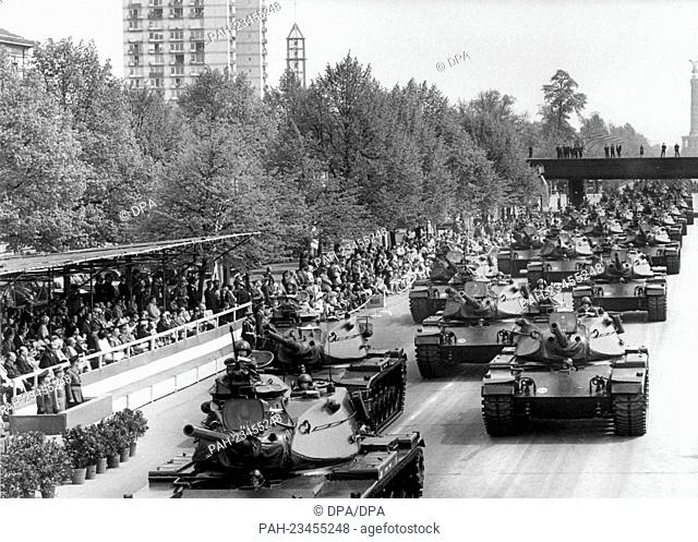 American tanks driving past a VIP stand during a parade on occasion of the 'Armed Forces Day' on 15th May 1972 in Berlin. - Berlin/Berlin/Germany