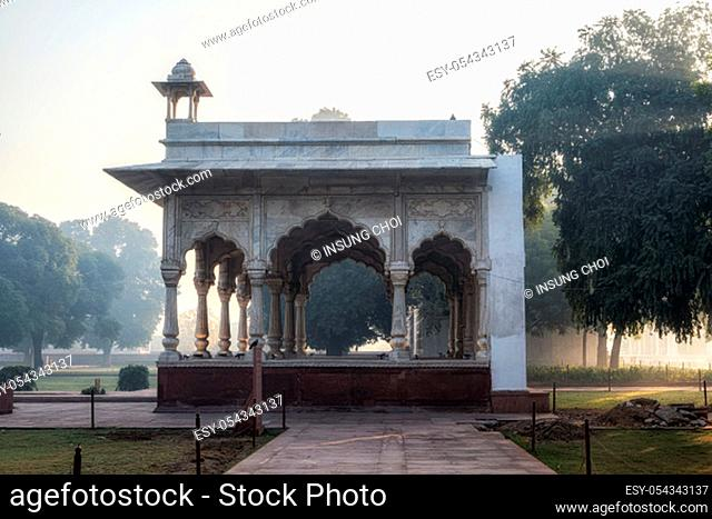 Sawan Pavilion in Red Fort, New Delhi, India taken during sunrise hours during morning fog