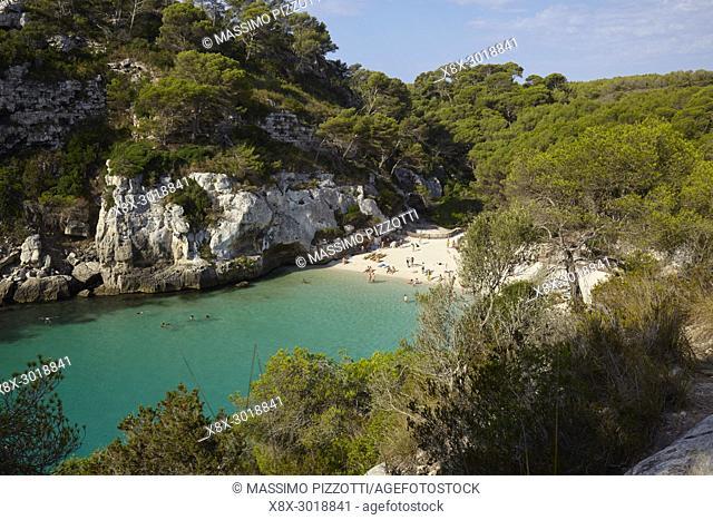Elevated view of Cala Macarelleta in Menorca,Balearic Islands, Spain