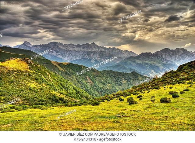 Collado de Llesba with Central and Eastern Massifs in Background. Picos de Europa National Park. Cantabria. Spain