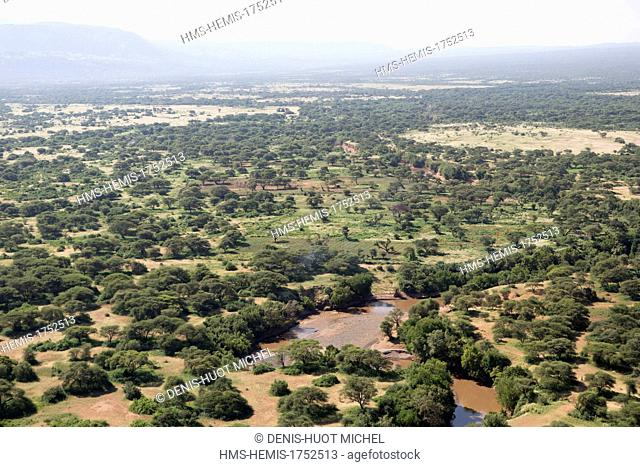 Kenya, around lake Magadi, soda (aerial view)