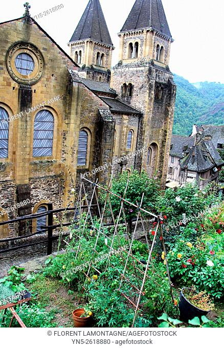 Aveyron, Midi-Pyrenees, Conques, abbey-church with Soulages stained-glass windows