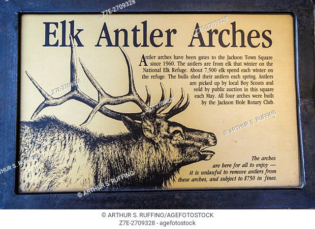 Elk Antler Arches sign, Jackson Town Square, Jackson, Wyoming, United States of America