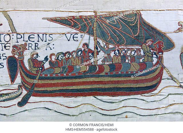 France, Calvados, Bayeux, tapestry museum, Bayeux tapestry, tapestry of Queen Mathilde, listed as Memory of the World by UNESCO, Harold, Earl English