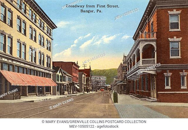 Bangor, Pennsylvania, USA - Wiliam H Bowers & Co. Department Store can be seen on the left. This is view of Broadway from First Street