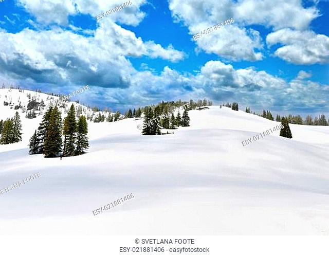 Snow In A High Mountains