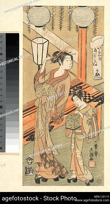 Courtesan and Attendant with a Cage of Fireflies. Artist: Ippitsusai Buncho (Japanese, active 1760-1794); Period: Edo period (1615-1868); Date: ca