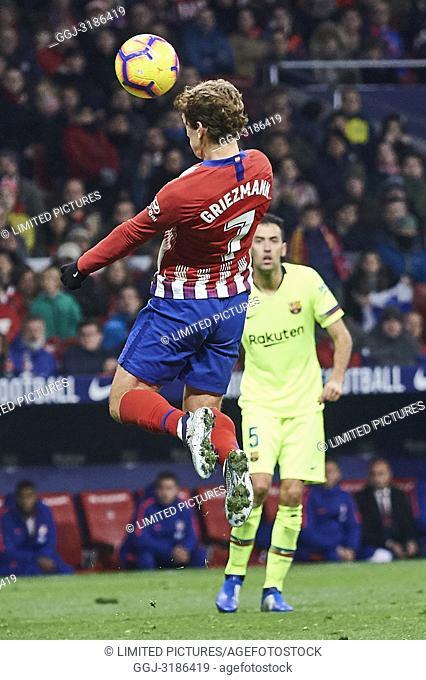 Antoine Griezmann (forward; Atletico Madrid) before La Liga match between Atletico de Madrid and F.C. Barcelona at Wanda Metropolitano on November 24