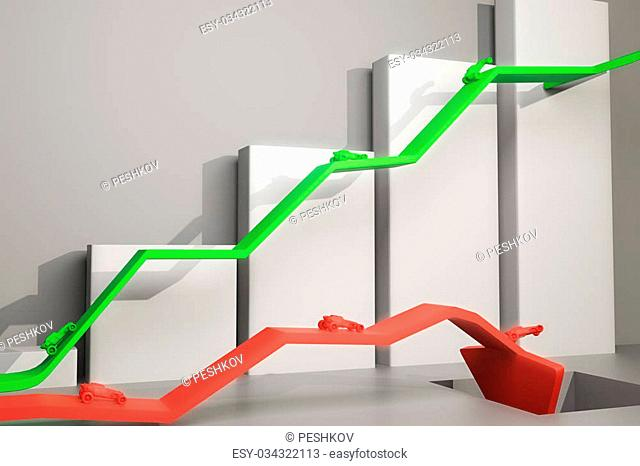 Different direction concept with abstract cars going in different directions on red and green arrows. Chart bars in the background. 3D Rendering