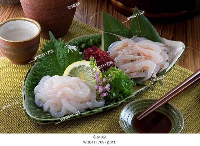 Sashimi of shira-ebi