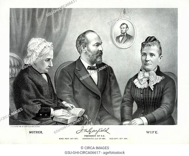 James A. Garfield, President of the United States, Seated Portrait with Mother (left) and Wife (right), Lithograph, Kurz & Allison, 1881