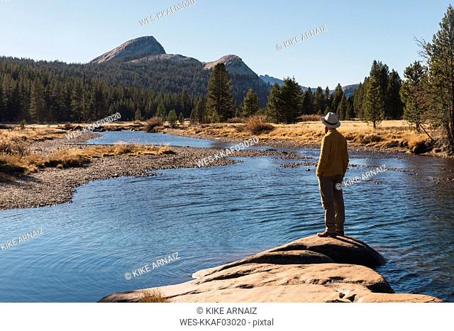 USA, California, Yosemite National Park, Tuolumne meadows, hiker on viewpoint