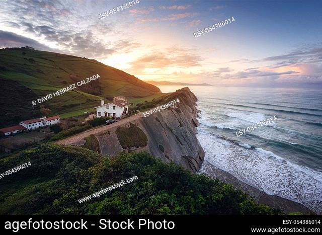 Coast Landscape Of Famous Flysch In Zumaia at sunset, Basque Country, Spain. Famous Geological Formations