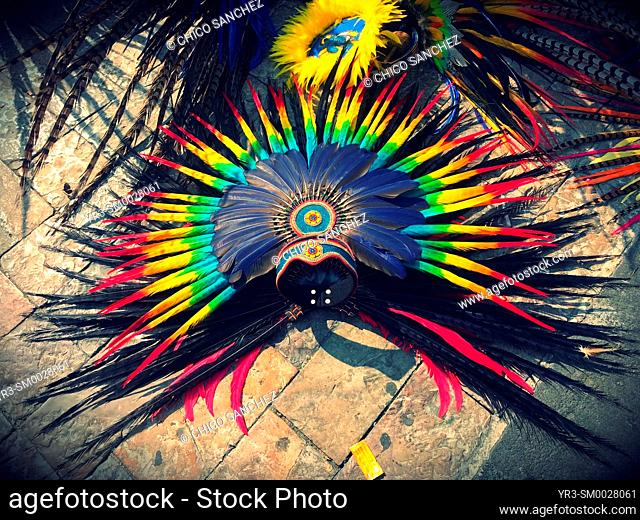 A colored feather plume is seen during Our Lady of Guadalupe pilgrimage in the Basilica of Guadalupe in the Tepeyac Hill in Mexico City, Mexico