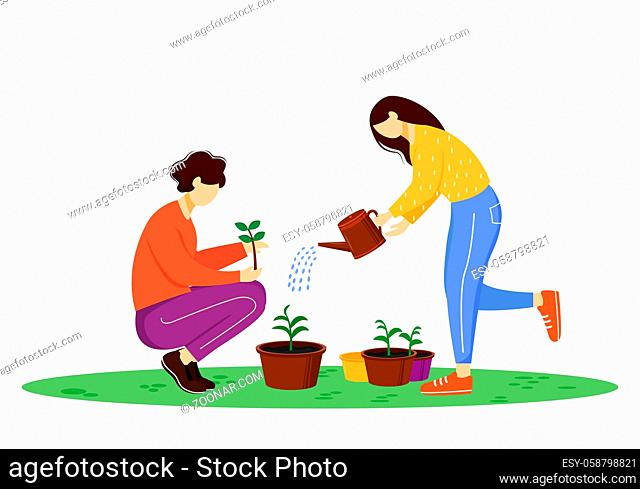 People growing plants flat vector illustration. Young gardeners, environmental activists isolated cartoon characters on white background