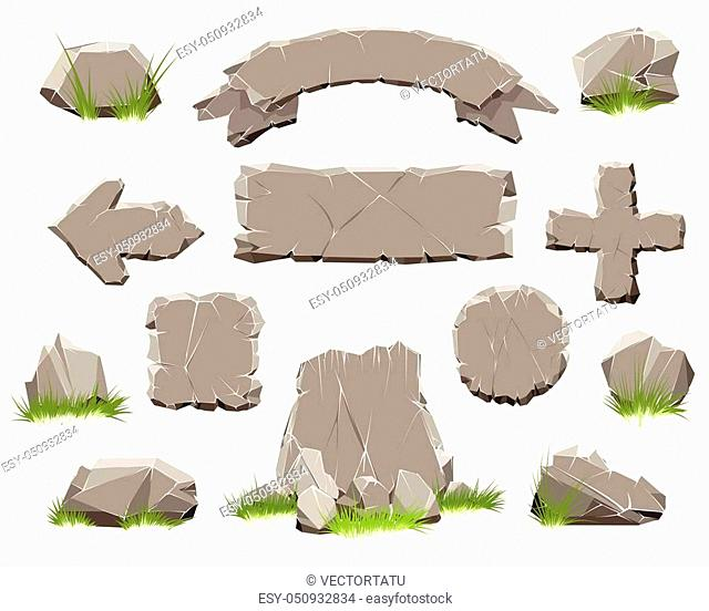 Rock circle button, stone banner vector illustration. Ribbon of stones and arrow of Rocks for natural game design isolated on white background