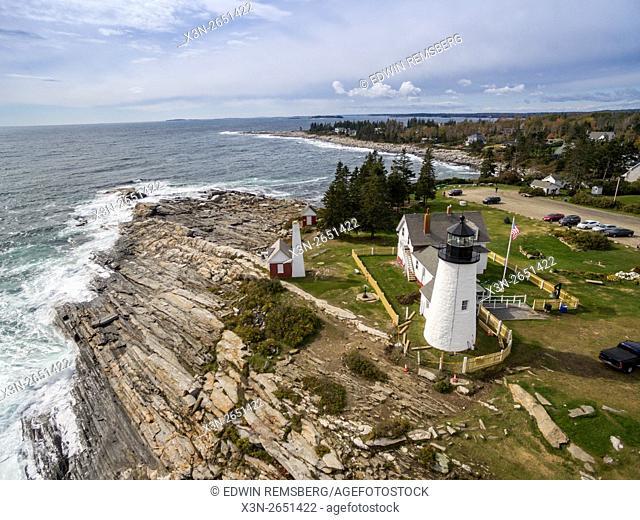 Aerial of Pemaquid Point Light in Bristol, Maine