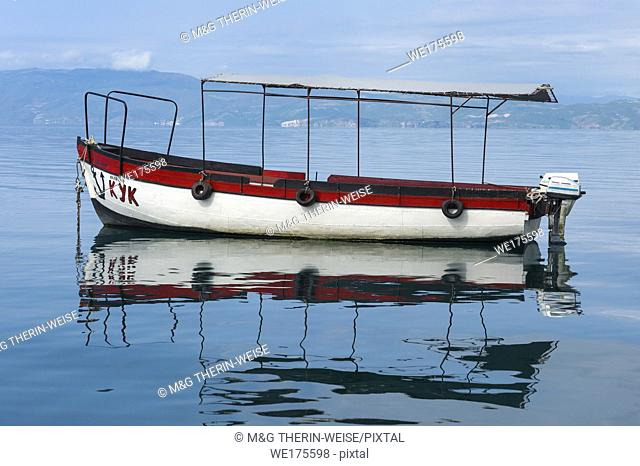 Small Boat reflecting in Ohrid Marina, Ohrid, Macedonia
