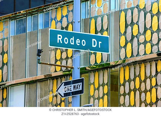 Rodeo Drive street sign in Beverly Hills California