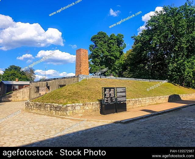 Auschwitz, Poland August 25, 2020: Auschwitz-Birkenau concentration camp - August 25, 2020 crematorium, exterior view,   usage worldwide
