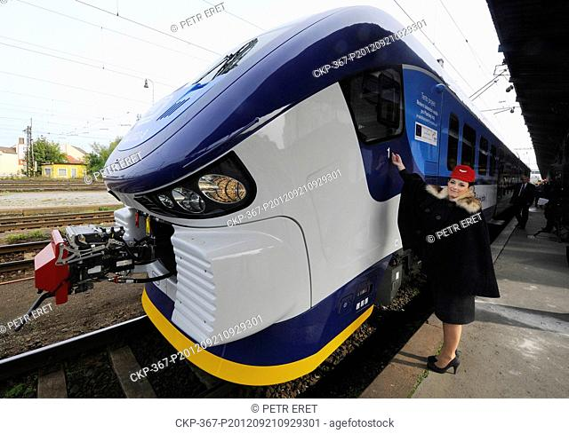 The Czech Railways CD launch the first one of 31 train sets, bought from Polish rail vehicle manufacturer PESA, in Plzen Friday, Sept 21