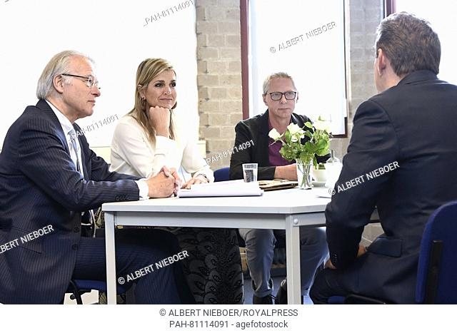 Scheveningen, 10-06-2016 HM Queen Maxima visits Foundation Taal aan Zee (language at Sea) in the Hague. This organization provides Dutch lessons to refugees