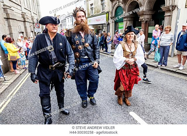 England, Cornwall, Penzance, Golowan Festival Parade, Parade Participants Dressed as Pirates