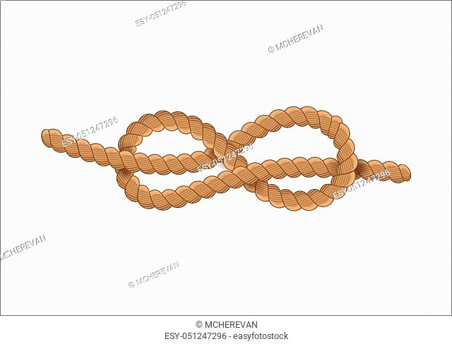 Nautical rope knot symbol. Silhouette vintage style. Beige brown knot on white background. Vector design