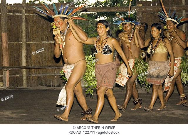 Indians of the tribe of Dessanos at a traditional dance Rio Taruma Amazon state Brazil