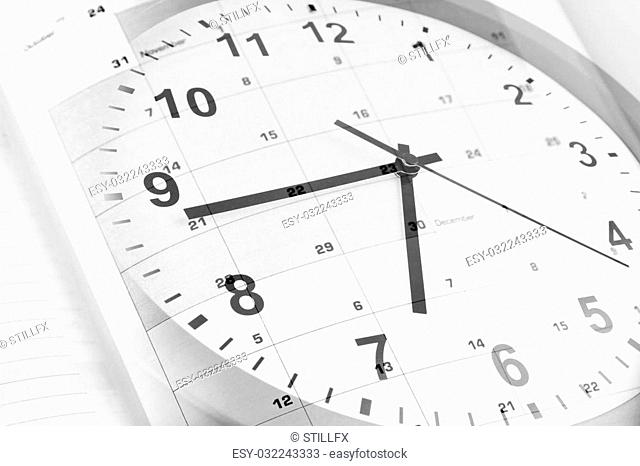 Clock face and diary calendar