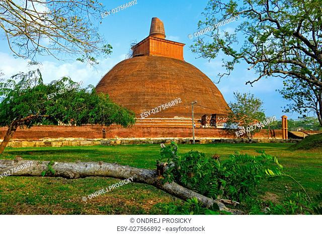Temple in Anuradhapura, Sri Lanka. Mahatupa big Dagoba in Anuradhapura