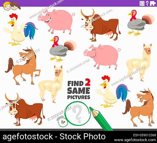 Cartoon illustration of finding two same pictures educational game for children with farm animal characters