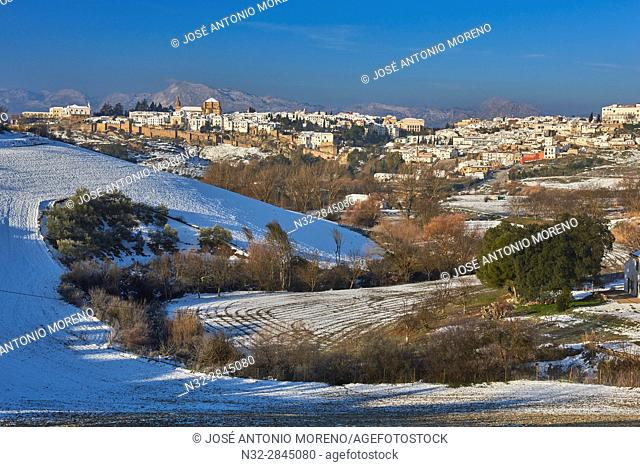 Ronda, Old city walls, Winter, Malaga province, Andalusia, Spain