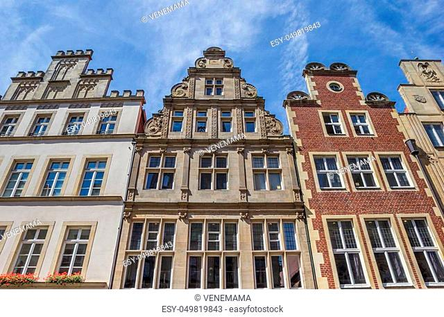 Old buildings at the Prinzipal market square in Munster, Germany