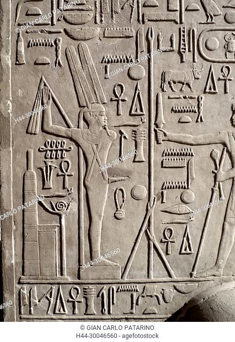 Luxor, Egypt, Karnak temple Reliefs and hieroglyphs on the column walls of the so called White Chapel of Sesostris I (Senousert or Senousret I) (1971-1926 b C )...