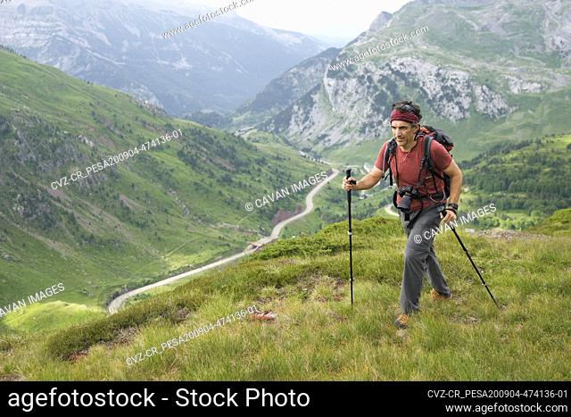 Hiker in Canfranc Valley, Pyrenees in Spain