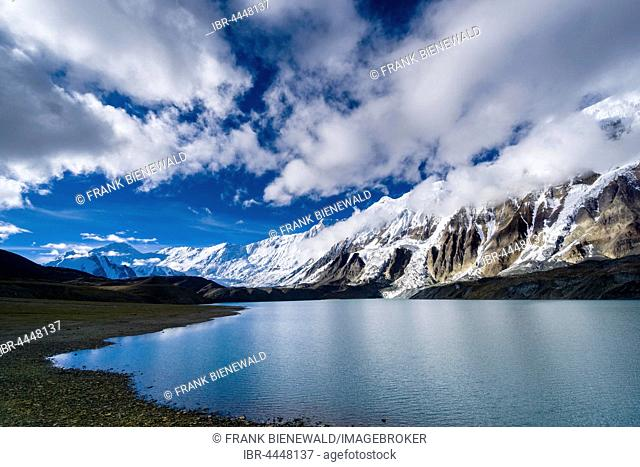 Tilicho Lake with snow-covered mountains, Manang, Manang District, Nepal