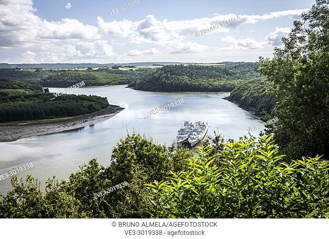 View of Marine National ship graveyard in Aulne estuary from a lookout near Landevennec (department of Finistère, region of Bretagne, France)