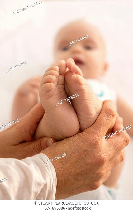 Six month old babies feet