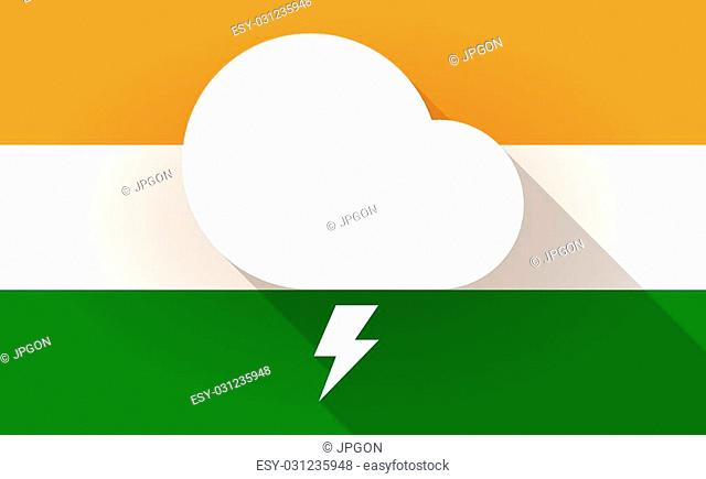 Illustration of an India flag icon with a stormy cloud