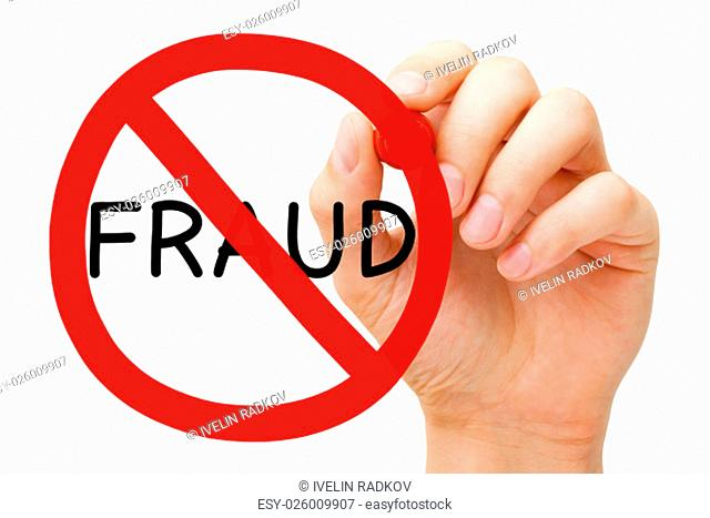 Hand drawing Fraud prohibition sign concept with red marker on transparent wipe board