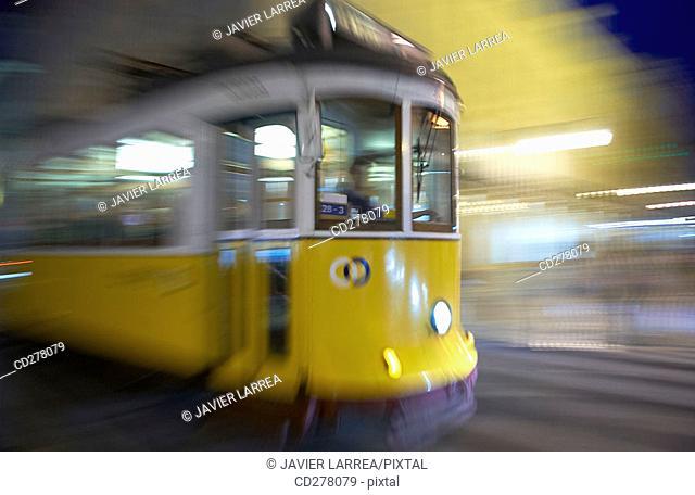 Tram in Rua da Conceição, Lisbon. Portugal