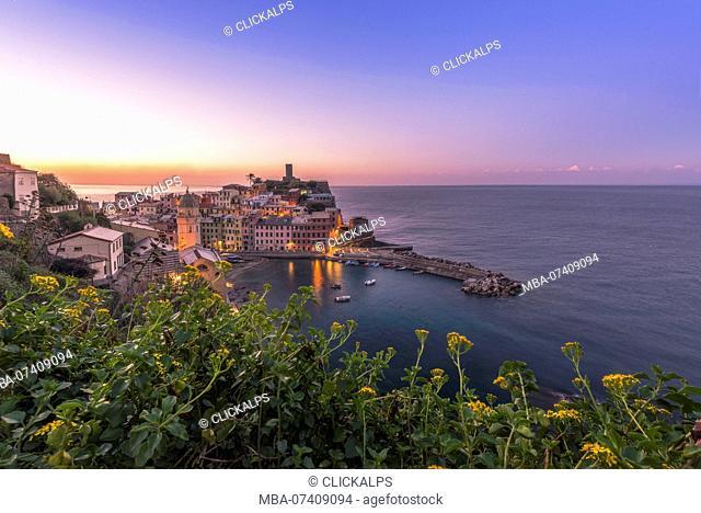 Vernazza, 5 Terre, Province of La Spezia, Liguria, Italy. Sunrise at Vernazza