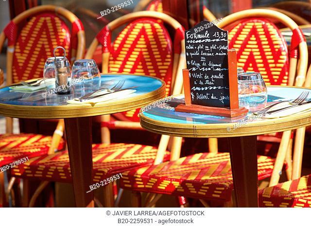 Terrace restaurant. Boulevard Saint Germain. Paris. France. Europe