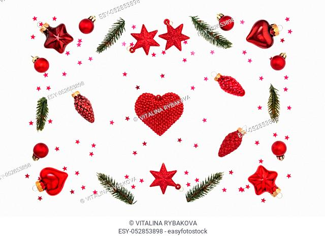 Christmas red decorations on white background. Flatlay, top view, copy space