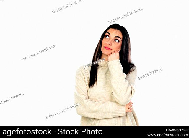 Attractive brunette woman isolated on a white background