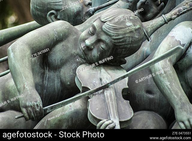 Detail of Monument to Hans Christian Lumbye (1810-1874), music director of Tivoli Gardens Orchestra (1843-1872). Tivoli Gardens, Copenhagen, Denmark, Europe