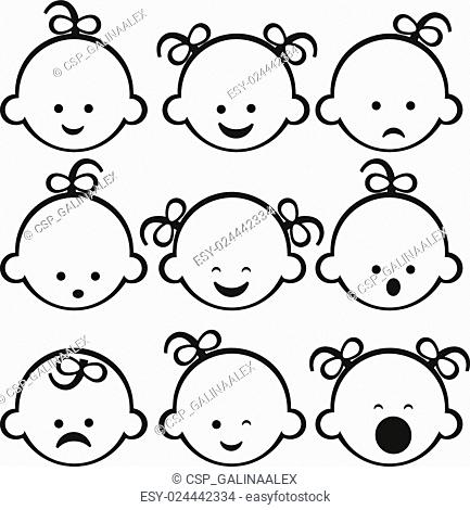 Smiley faces. Baby girl Set